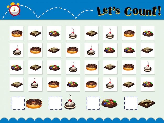 Spelsjabloon voor het tellen van desserts