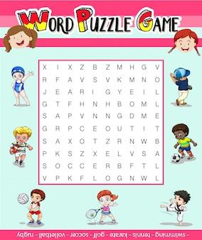 Spelsjabloon voor woordpuzzel met veel sporten