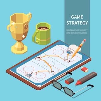 Spelstrategie getoond op sportveld isometrische samenstelling met kopje koffie potlood marker glazen 3d illustratie