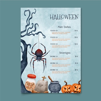 Spider aquarel halloween menusjabloon
