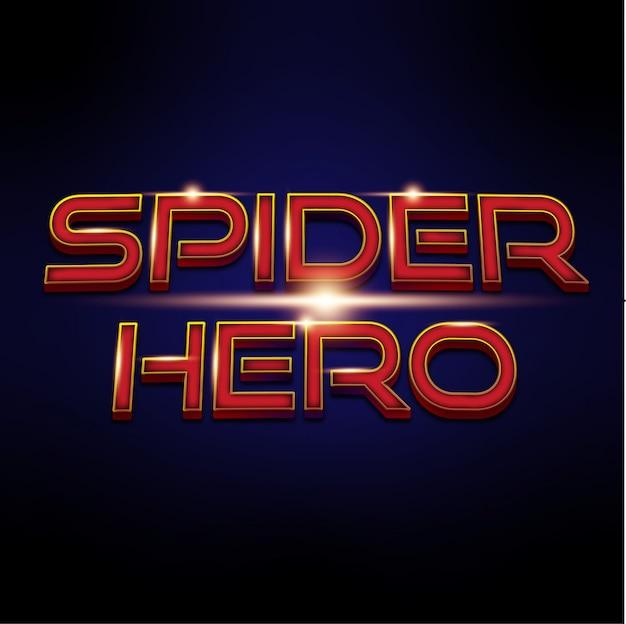 Spider hero of superhero 3d-lettertype-effect Premium Vector