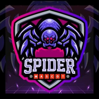 Spider mascotte esport logo ontwerp