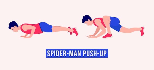 Spiderman push up oefening vrouw workout fitness aerobic en oefeningen