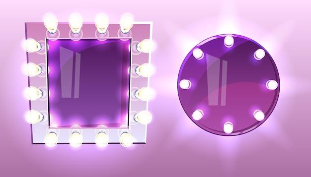 Spiegel met gloeilampen