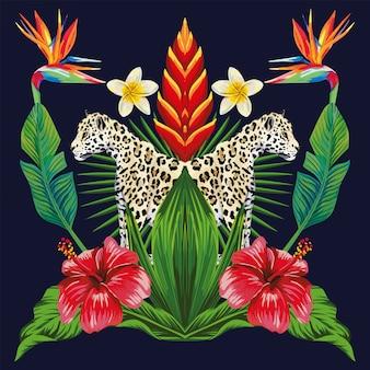 Spiegel tropische compositie van dieren en planten