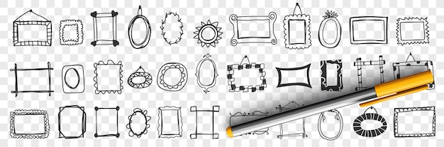 Spiegels en frames doodle set illustratie