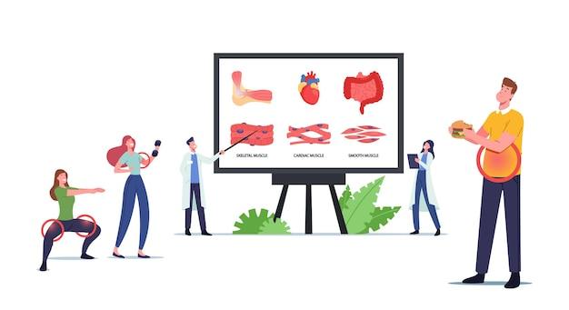 Spiergezondheid, geneeskundeconcept. kleine personages op enorm bord met infographics die skelet-, hart- en gladde spieren presenteren. mensen gezonde en ongezonde levensstijl. cartoon vectorillustratie