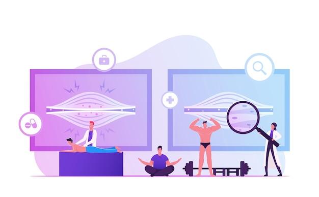 Spierspanning concept. chiropractor masseert man met pijn in gespannen spieren. cartoon vlakke afbeelding