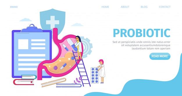 Spijsvertering maagzorg met probiotica landing, illustratie. geneeskunde bacteriën voor darmziekte, banner