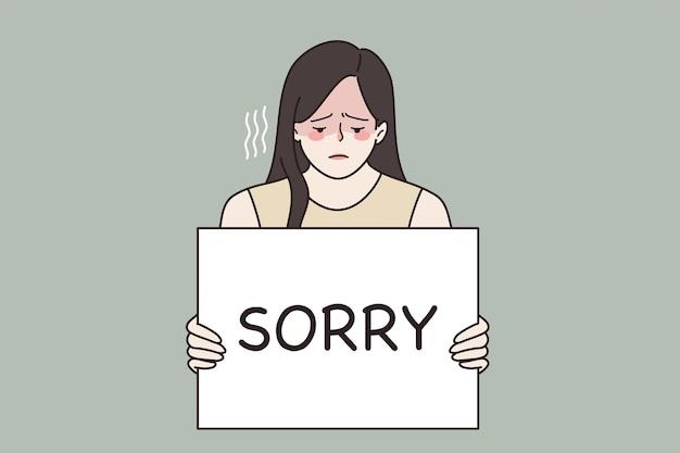 Spijt voelen en schuldconcept. jonge, droevige, gefrustreerde vrouw die zich schuldig voelt en een bord vasthoudt dat sorry zegt in handen vectorillustratie