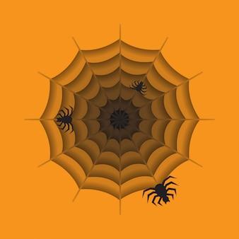 Spin met spinnenweb op oranje achtergrond