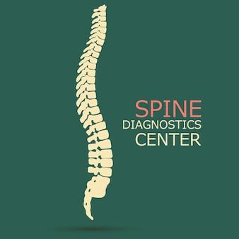 Spine diagnostics center, geneeskunde, kliniek symbool ontwerp, ruggengraat silhouet vector embleem