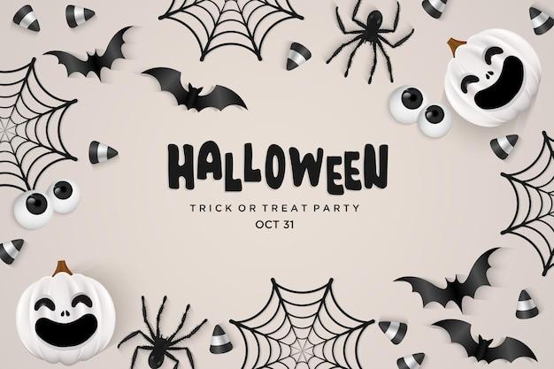Spinnenweb met vleermuizen op halloween-feestachtergrond