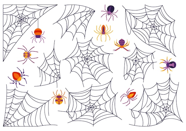 Spinneweb en spin halloween tekenfilm set griezelig eng spinnen web gevaarlijke decoratie