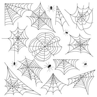 Spinneweb ingesteld spinnenweb halloween zwarte vector