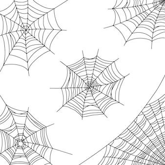 Spinneweb vectorillustratie voor halloween decoratie zwart spinnenweb op hoek witte achtergrond