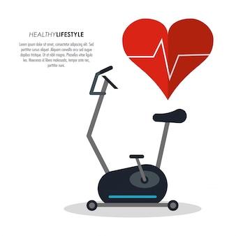 Spinning machine en hart pulse pictogram