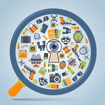 Spion concept vergrootglas pictogram