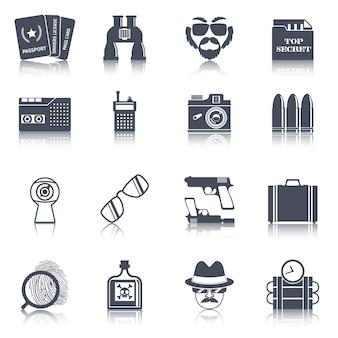 Spion gadgets zwarte pictogrammen instellen