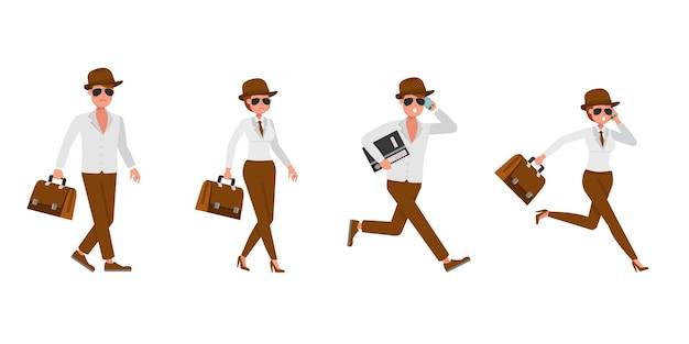 Spion geheim agent karakter vector ontwerp. presentatie in verschillende acties. no8