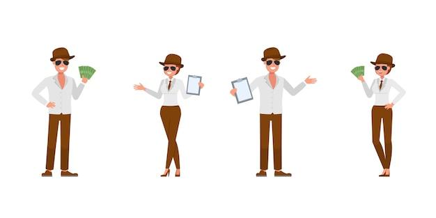 Spion geheim agent karakter vector ontwerp. presentatie in verschillende acties. nummer 5