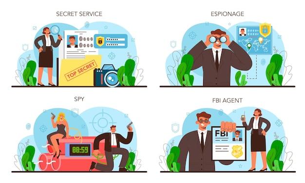 Spion ingesteld. geheim agent of fbi die misdaad onderzoekt. bescherming tegen spionage, cyberaanvallen en terroristen. speciale geheime dienst. platte vectorillustratie
