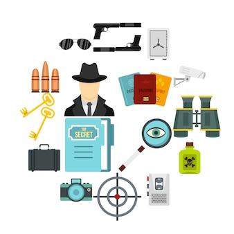 Spionagehulpmiddelen vlakke pictogrammen instellen
