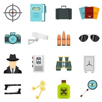 Spionhulpmiddelen geplaatst vlakke pictogrammen