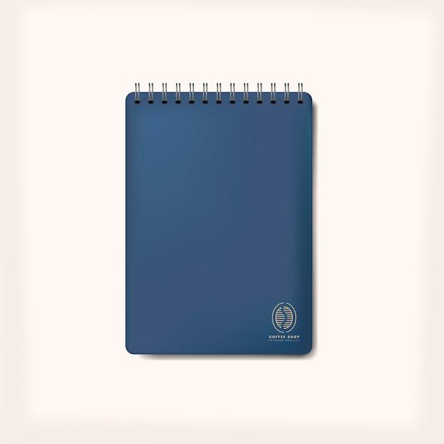 Spiraal blauwe notebook mockup geïsoleerde vector