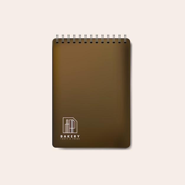 Spiraal bruin notebook mockup geïsoleerde vector