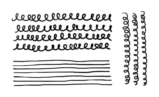 Spiraal golvende onderstreping golvende en vloeiende handgetekende grafische elementen
