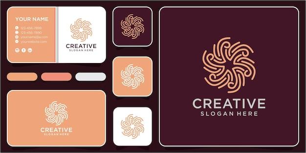 Spiraal logo ontwerpconcept. spiraal logo ontwerp inspiratie met visitekaartje