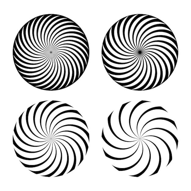 Spiraal vortex set abstracte zwart-wit optische illusies pak geometrische swirl vertigo met rotatie-effect Premium Vector