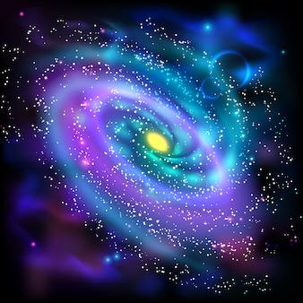 Spiraalvormig melkweg zwarte achtergrondpictogram