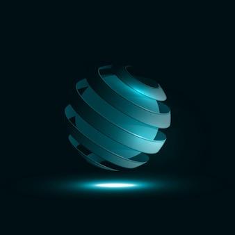 Spiraalvormige bol abstracte lijnen. creatieve dynamische lichtelement illustraties
