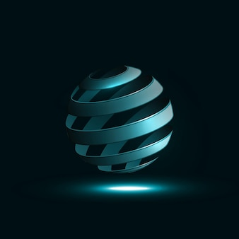 Spiraalvormige bol abstracte lijnen.