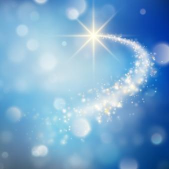 Spiraalvormige sleep met bokeheffect kerstmisachtergrond van vallende ster. en omvat ook