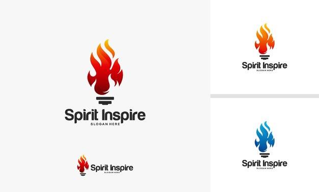 Spirit inspire logo-ontwerpconcept, hot idea-logo-ontwerpen, bulb idea-logosymbool