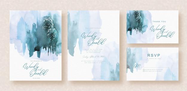 Splash abstract aquarel op bruiloft uitnodiging achtergrond