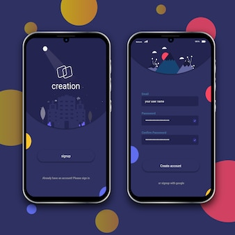 Splash- en aanmeldingsscherm met android-telefoon met notch-drop
