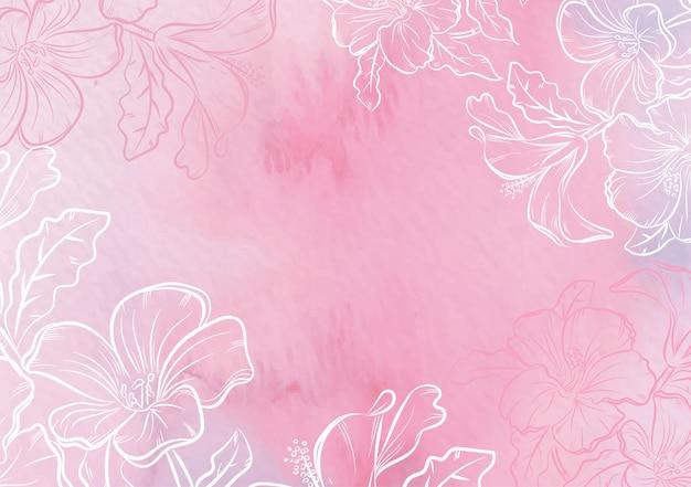 Splash en met de hand getekende bloemen aquarel achtergrond