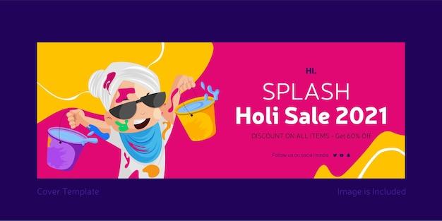 Splash holi verkoop facebook omslag sociale media ontwerpsjabloon