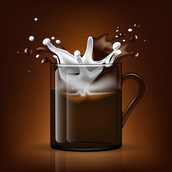 Splash in beker. melk en koffie