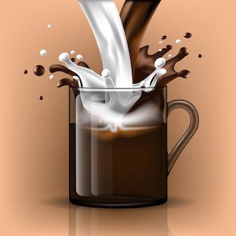 Splash koffie en melk in een glazen mok
