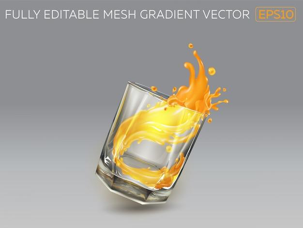 Splash van sinaasappelsap uit een vallende glas