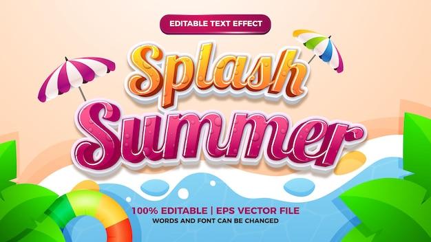 Splash zomer bewerkbaar teksteffect