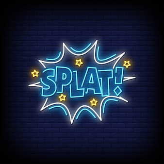 Splat neon signs style text vector