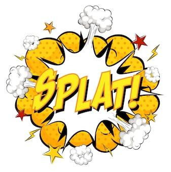 Splat-tekst op komische wolkexplosie die op witte achtergrond wordt geïsoleerd