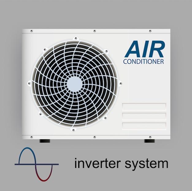Split-systeem airconditioningomvormer. realistische conditionering met wifi-controle over het internet en antivirusfuncties en afstandsbediening. illustratie klimaatbeheersingssysteem
