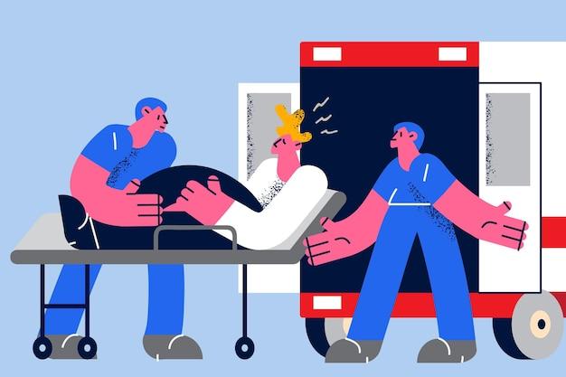 Spoedeisende geneeskunde en gezondheidszorg concept. jonge artsen in blauwe uniformen die gewonde man patiënt in noodcabine brengen en naar ziekenhuiskliniek brengen vectorillustratie